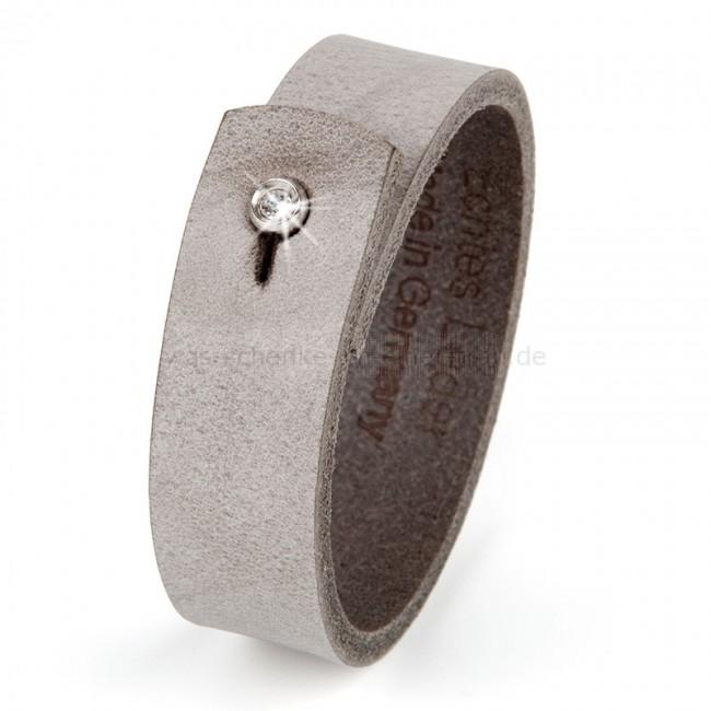 Lederarmband verschluss  Lederarmband Armband mit Strass Verschluss, grau