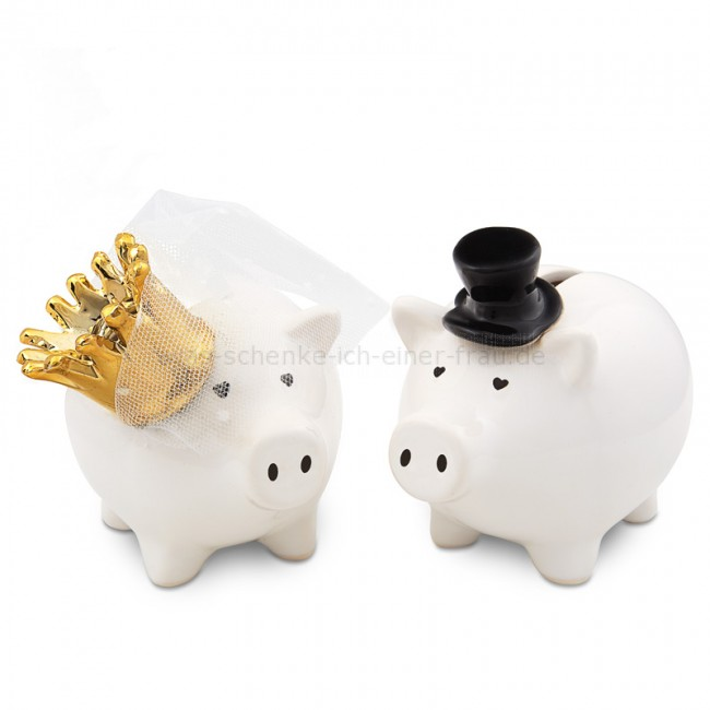 Sparschwein Brautpaar zur Hochzeit – gelungene Geldgeschenke