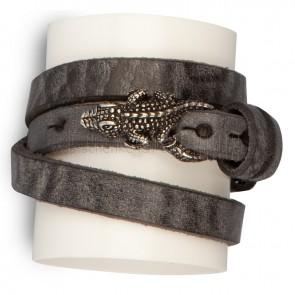 Lederarmband-schwarz-Krokodil