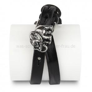 Lederarmband-schwarz-Elefant