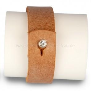 Lederarmband Armband braun mit Strass Verschluss