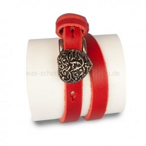 Lederarmband Armband rot mit Herz Schliesse