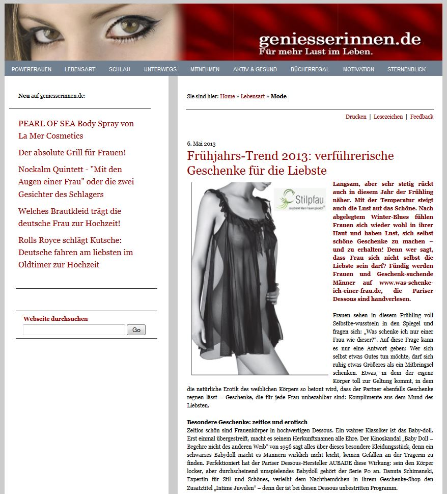 Artikel bei geniesserinnen.de